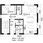 Двухэтажный дом 160/1-2 (1 этаж)