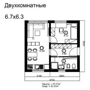 Двухкомнатный дом 43/2