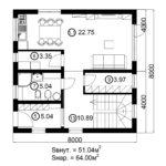 Двухэтажный дом 128/1 (1 этаж)