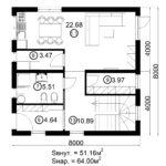Двухэтажный дом 128/2 (1 этаж)