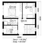 Двухэтажный дом 128/2 (2 этаж)