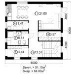 Двухэтажный дом 128/3 (1 этаж)