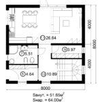 Двухэтажный дом 128/4 (1 этаж)