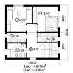 Двухэтажный дом 128/4 (2 этаж)