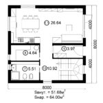 Двухэтажный дом 128/6 (1 этаж)