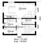 Двухэтажный дом 128/7 (1 этаж)