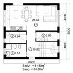 Двухэтажный дом 128/8 (1 этаж)