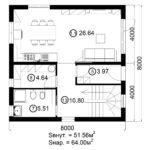 Двухэтажный дом 128/9 (1 этаж)